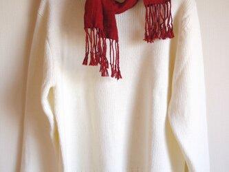 手織り太糸シルクのマフラー・小(幅23㎝×長さ130㎝) 赤茶 の画像