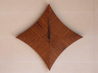 無垢の木の電波掛け時計 チーク 0027の画像
