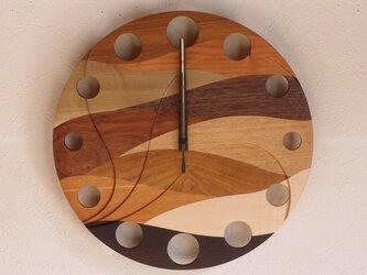 無垢の木の電波掛け時計 ウェーブ 0016の画像