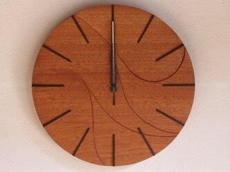無垢の木の電波掛け時計 サペリ 0003の画像
