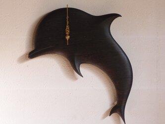 無垢の木の電波掛け時計 ウエンジ イルカ 0026の画像