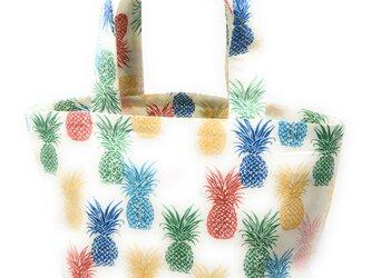 ハワイアン ミニ トートバッグ パイナップル柄 ベージュ mmt-182の画像