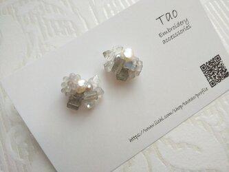 天然石ピアス ハーキマーダイヤモンド、ラブラドライトの画像