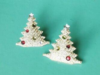 【 クリスマスツリー & スワロフスキー の イヤリング】の画像