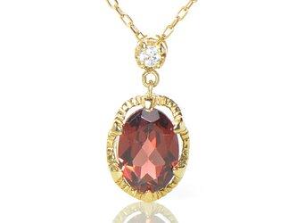 K18 ガーネット×ダイヤモンド ペンダント K18イエローゴールド クラウディア YK-BD085CIの画像