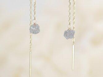 #760_02★現品★K10★グレーダイヤモンド原石のシンプルチェーンピアスの画像