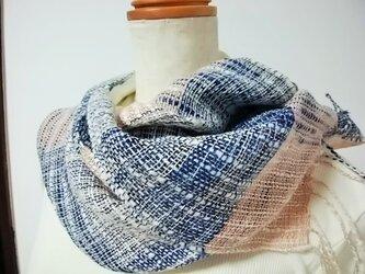 手織りストール(藍×格子)の画像