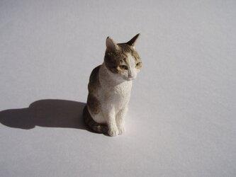 木彫り キジ白猫の画像