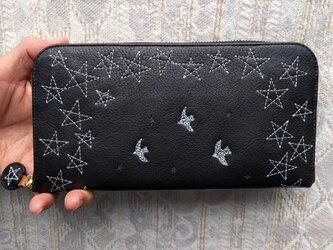 刺繍革財布『星空』牛革BLACK(ラウンドファスナー型)の画像