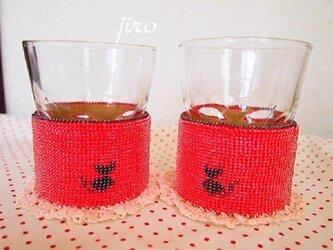 ビーズ編み 黒猫コースターの画像