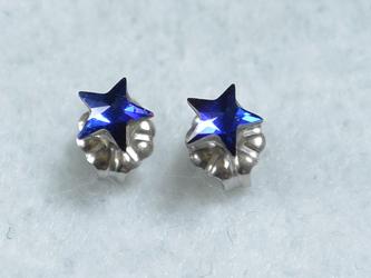 スワロ・青の星のピアス(レア・5mm・バミューダブルー・チタンポスト)の画像