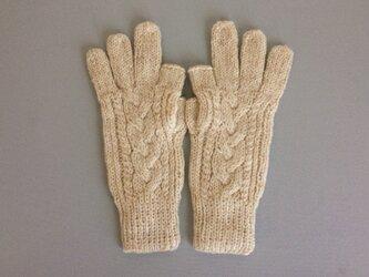 【受注制作】手袋アルパカ×ラムウールオフホワイトベージュ系(の画像