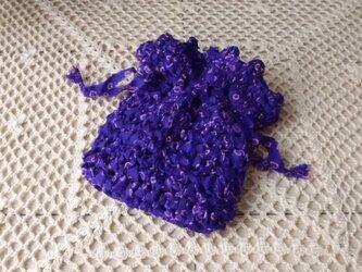 古 布(裂き編み)のミニ巾着 ・菫の画像