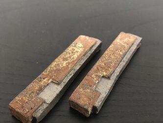 焼締箸置き&カトラリースタンド「重(かさね)」(8.4㎝長角凹み・左横焼締)の画像