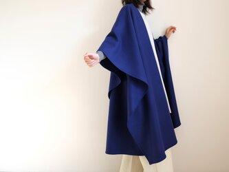 新作・ロング ケープ コート Re_1say /圧縮 ウール ジャージー【 ロイヤルブルー 】 long cape<受注製作>の画像
