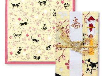 風呂敷で作った御祝儀袋/さくら猫/猫柄/名入れ無料/お弁当包みに最適なサイズの画像
