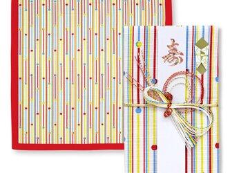 風呂敷で作った御祝儀袋/がらす棒/小紋調/名入れ無料/お弁当包みに最適なサイズの画像
