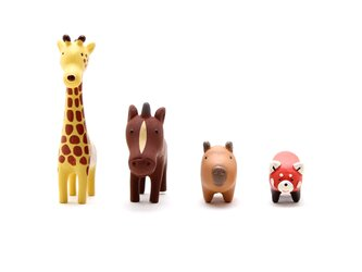 動物フィギュア/ミニチュア キリンセット(キリン、馬、カピバラ、レッサーパンダ) ブランド/リトルアニマル インテリア/オブジェの画像