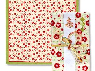 風呂敷で作った御祝儀袋/梅/小紋調/名入れ無料/お弁当包みに最適なサイズの画像