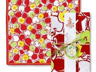 風呂敷で作った御祝儀袋/甘蜜林檎/りんご柄/小紋調/名入れ無料/お弁当包みに最適なサイズの画像