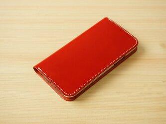 牛革 iPhone 11 Pro Max カバー  ヌメ革  レザーケース  手帳型  レッドカラーの画像