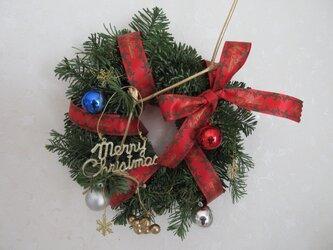 オレゴン州のモミの木のリース レッドクリスマスリボン 20センチの画像