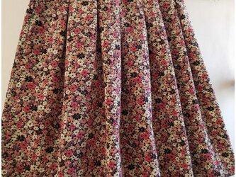 【sizeL】ボックスタックスカート/コーデュロイ/小花柄/くすみピンクの画像