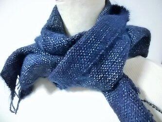 手織り・藍色マフラーの画像