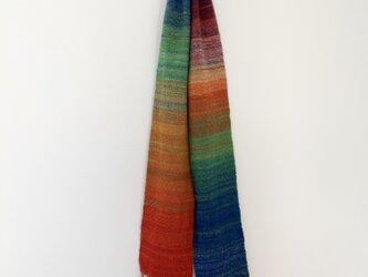 手紡ぎ糸の手織りマフラー[レインボーグラデーション]の画像