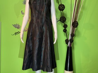 大島紬のワンピースドレス 風花の画像