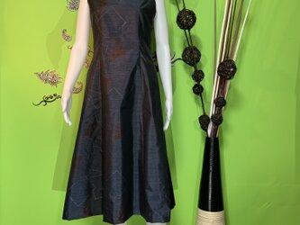 大島紬ワンピースドレス 瑠璃の画像