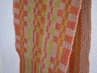 昼夜織り・草木染マフラー(オレンジ・黄緑)の画像