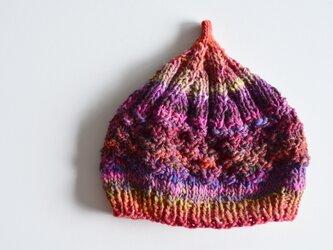1点限定!どんぐりニット帽子 野呂英作毛糸使用 ラズベリーピンクの画像