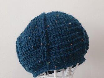 濃青ツイードのまあるいニット帽の画像