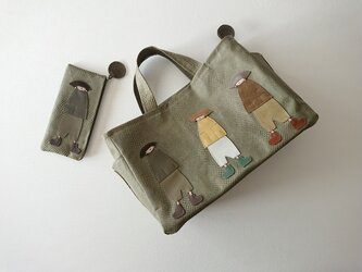 annco embossed leather bag & pen case [wakakusa]の画像