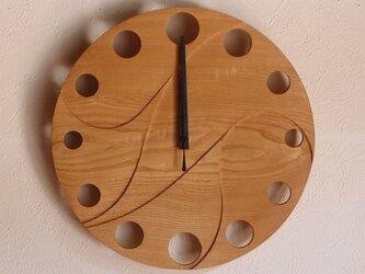無垢の木の電波掛け時計 くり 0069の画像