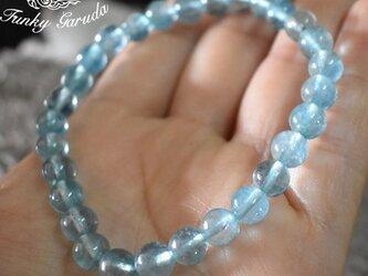 透き通るブルー★良質★アクアマリンブレスレットaqub001の画像