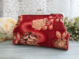 ◆【再販】扇子と流しフラワーのがま口ポーチ赤*和柄日本花柄フラワー着物がま口バッグ旅行の画像