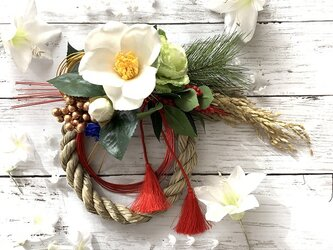 【2020迎春】白椿のお正月飾り◇ #お正月飾り #しめ縄 #しめ縄飾りの画像