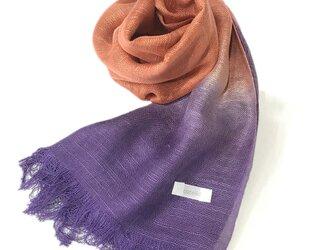 国産シルク100%手描き染めストール purple&redの画像