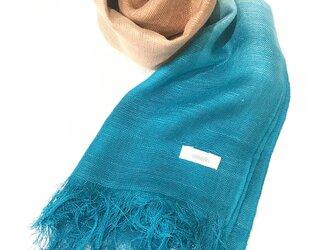 国産シルク100%手描き染めストール turquoise&beigeの画像