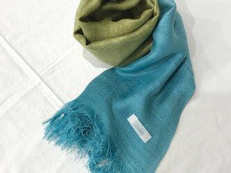国産シルク100%手描き染めストール blue&light greenの画像