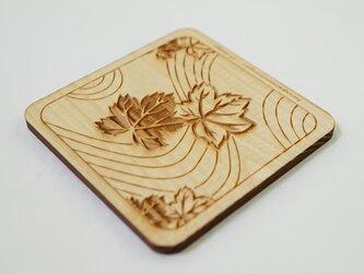 木製コースター 熊谷型紙 流水・葉・竜田の画像