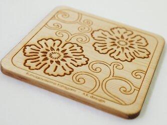 木製コースター 熊谷型紙 唐草・花の画像