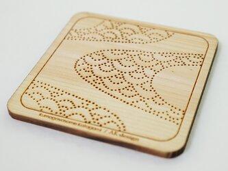 木製コースター 熊谷型紙 よろけ縞・青海波の画像