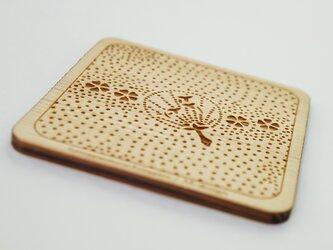 木製コースター 熊谷型紙 うちわ・桜の画像