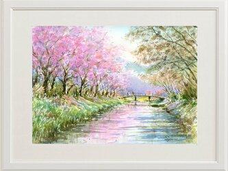 水彩画原画 さくら・忍野村(#407)の画像