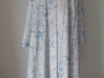 紬リメイク 手描き風な紬でカーディガンコート 絹の画像