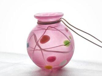 現品限り「ヨーヨー花入れピンク フロスト」の画像