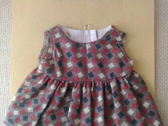 sokko's Dress グレー地に白、紺、小豆色の四角柄の画像